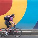 Man cycling on street