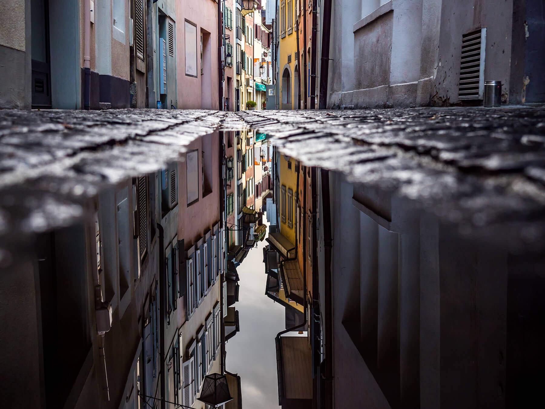 Reflection photo on street