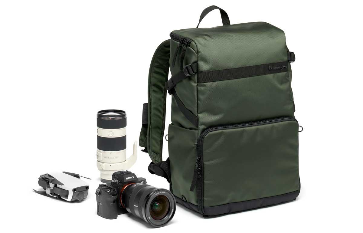 Slim camera backpack